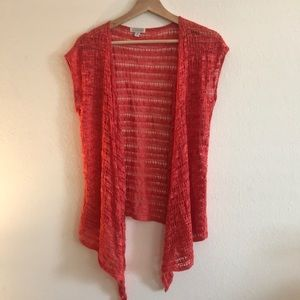 Charming Charlie Coral Short Sleeve Crochet Top M